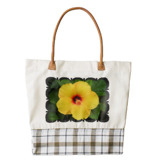 FLORAL TOTE / YELLOW HIBISCUS ZAZZLE HEART TOTE BAG