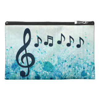 Floral Treble Clef and Music Notes Travel Accessory Bag