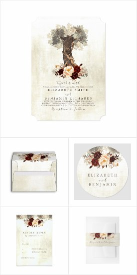 Floral Tree Rustic Wedding Invitation Set