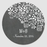 floral tree branches and mason jars classic round sticker