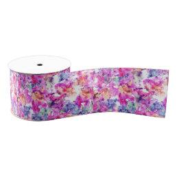 Floral trendy hand painted watercolor pattern grosgrain ribbon
