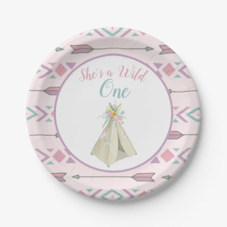 Floral Tribal Teepee Wild One 1st Birthday Paper Plate
