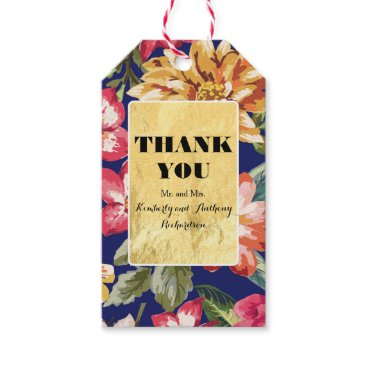 Beach Themed floral tropical beach gold and navy wedding gift tags