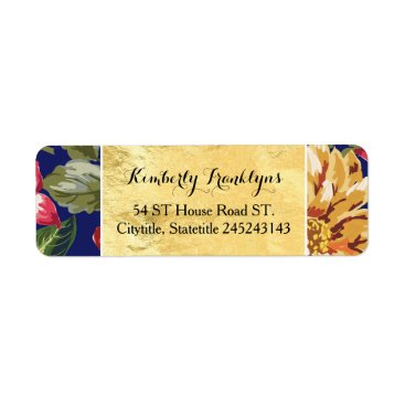 Beach Themed floral tropical beach navy gold wedding label
