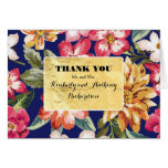 floral tropical beach navy -gold wedding thank you card