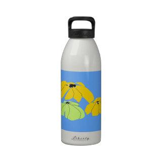 Floral tropical - botella de agua azul y ocre