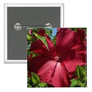 Floral tropical de la flor del hibisco y del cielo chapa cuadrada 5 cm