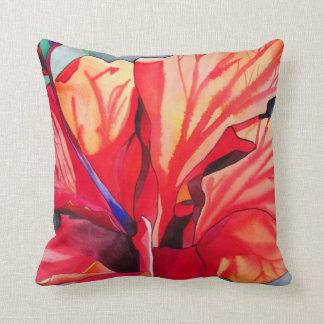 Floral tropical del hibisco rojo almohada
