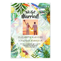 Floral Tropics Just Married Announcement Reception