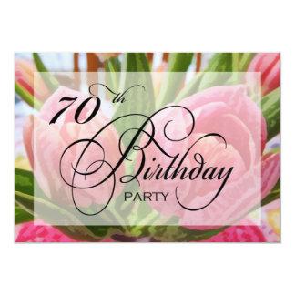 Floral Tulip 70th Birthday Party Invitation