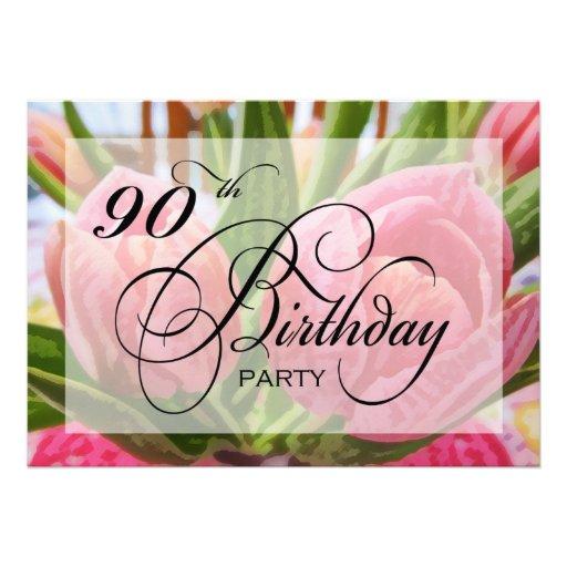 Floral Tulip 90th Birthday Party Invitation