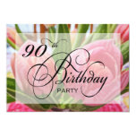 "Floral Tulip 90th Birthday Party Invitation 5"" X 7"" Invitation Card"