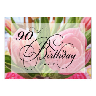 Floral Tulip 90th Birthday Party Invitation