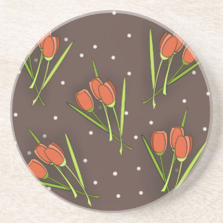 Floral Tulip Design Drink Coasters