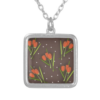 Floral Tulip Design Personalized Necklace