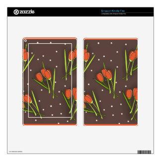 Floral Tulip Design Kindle Fire Decals
