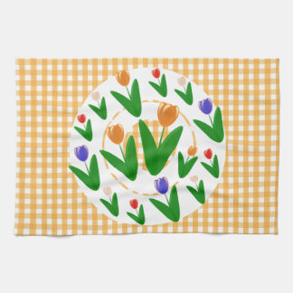 Floral Tulips Pattern Hand Towels