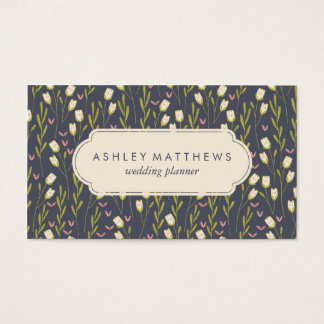 Floral Tulips Pattern Professional Business Card