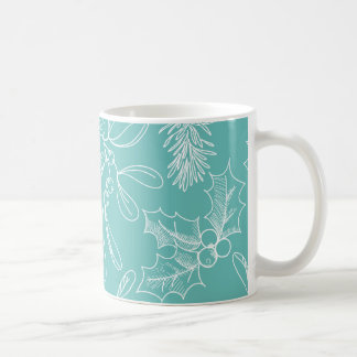 Floral Turquoise Christmas Pattern Coffee Mug