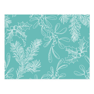 Floral Turquoise Christmas Pattern Postcard