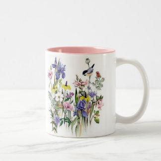 Floral Two-Tone Coffee Mug