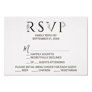 Floral Typography Menu Choice RSVP Card