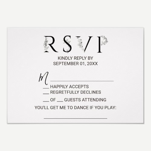 Floral Typography Song Request RSVP Card