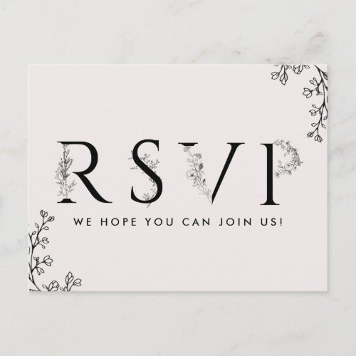 Floral Typography Song Request RSVP Postcard