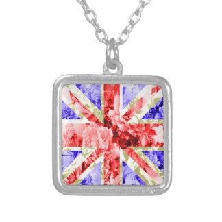 floral uk flag,union jack,the union flag square pendant necklace