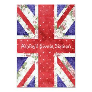 Floral UK Union Jack Flag Polka Dots Sweet 16 3.5x5 Paper Invitation Card