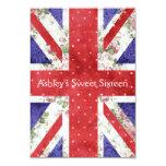 Floral UK Union Jack Flag Polka Dots Sweet 16 Card
