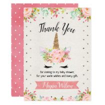 Floral Unicorn Baby Shower Thank You Card