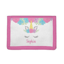 Floral Unicorn Face Personalized Girls Trifold Wallet