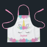 "Floral Unicorn Face Personalized Kids Apron<br><div class=""desc"">This adorable unicorn apron,  features flowers and a sleeping unicorn face. Easily personalize with name to make a custom gift for a little girl.</div>"