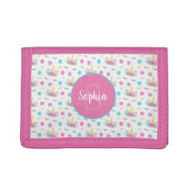 Floral Unicorn Face Personalized Monogram Girls Trifold Wallet