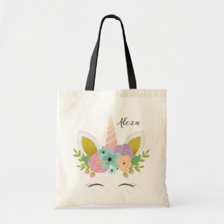 Floral Unicorn Faux Gold Personalized Tote Bag