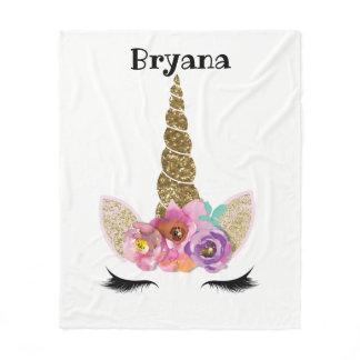 Floral Unicorn Gold Glitter Girly Girls Sparkle Fleece Blanket