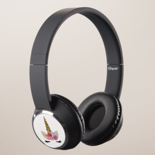 Floral Unicorn Gold Glitter Girly Girls Sparkle Headphones