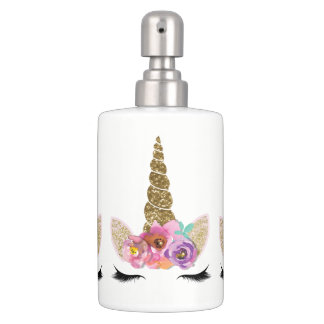 Floral Unicorn Gold Glitter Girly Girls Sparkle Soap Dispenser And Toothbrush Holder