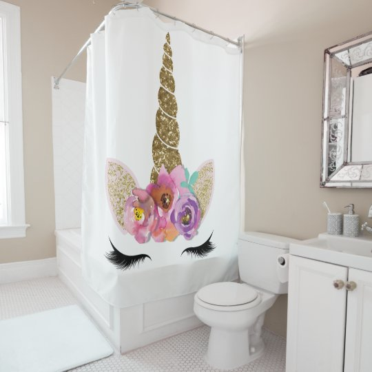 Floral Unicorn Gold Glitter Glam Girls Sparkle Shower Curtain