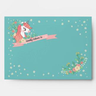 Floral Unicorn Kindly Deliver To Envelope