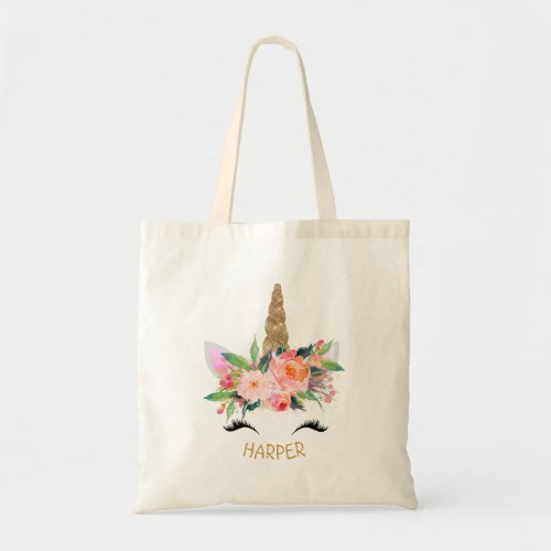 Floral Unicorn Personalized Tote Bag