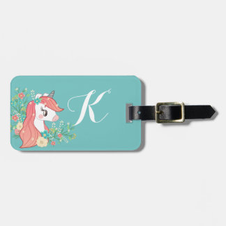 Floral Unicorn Turquoise Monogrammed Luggage Tag