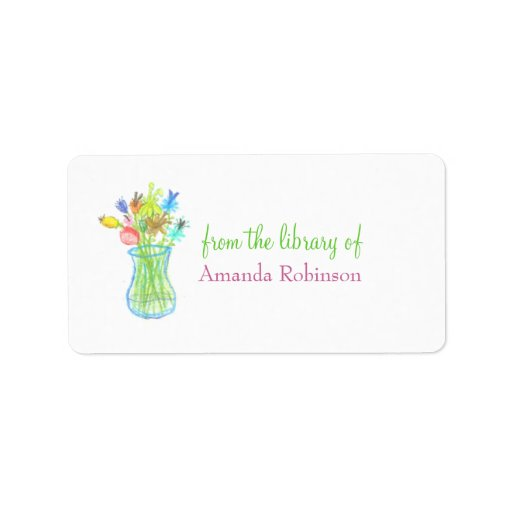 Floral vase personalized bookplate personalized address labels