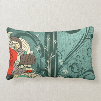 Floral Vector Design Pillow with Swirls
