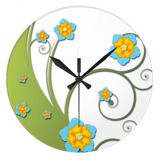 Wall Clock Floral Design : Floral vector wall clock design zazzle