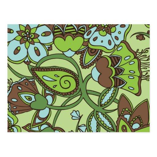 Floral verde de menta tarjetas postales