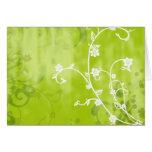 Floral verde descolorada tarjeta