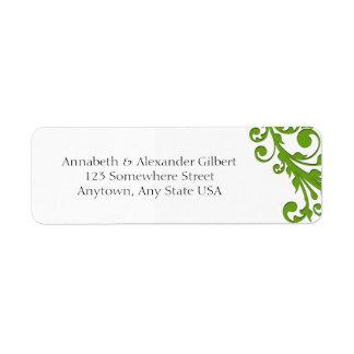 Floral verde elegante etiqueta de remite