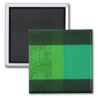 Floral verde elegante y rayas imán cuadrado